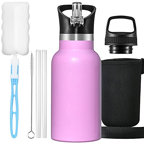 OMORC 304A Botella Agua Acero Inoxidable, 350ml Botella para Niños, Aislado al Vacío, Botella Termo Boca Ancha a Prueba de Fugas, sin BPA, con Dos Tazas, Pajitas, Bolsa y Cepillo de Limpieza