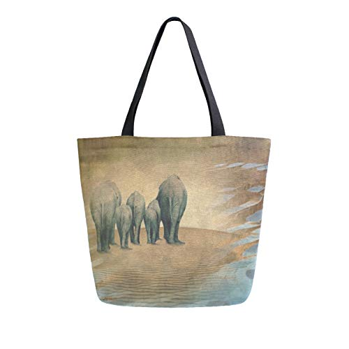 Einkaufstasche mit Elefanten-Herde der Elefanten, Leinen, waschbar, wiederverwendbar, für Lebensmittel, Einkaufen, Reisen, Picknick, Schule