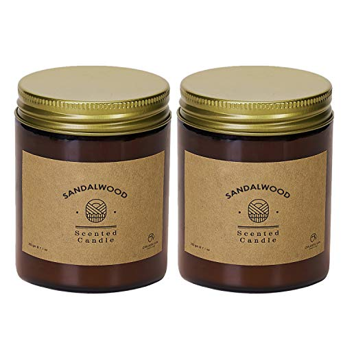 CHLOEFU LAN Scented Candles Sets Sandalwood Amber Candle 200g|45 Hour Burning 100% Soy Wax Glass Jar Candle for Home Decor, Best Gifts for Men and Women Aromatherapy Candles 2 Pack