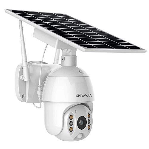 SHIWOJIA PTZ WiFi Cámara de Vigilancia Cámara Exterior Pan/Tilt 1080P con Batería Recargable Cámara Solar Cámara IP Exterior Detección de Movimiento PIR con Audio Bidireccional IP66 Impermeable