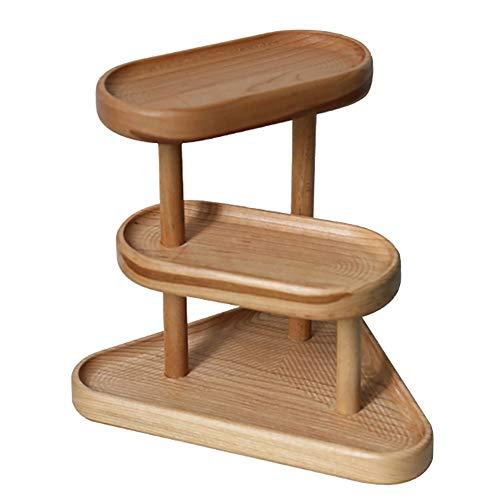 Almacenamiento de cosméticos de madera maciza, estante para mesa de madera de cerezo, colgador organizador de pendientes, collar, pulsera y anillo | Pantalla de almacenamiento