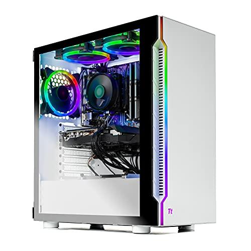 SkyTech Archangel 3.0 Gaming Computer PC Desktop - Ryzen 5 3600 6-Core 3.6GHz, RTX 3060 12GB, 1TB SSD, 16GB DDR4 3000, B450 MB, RGB Fans, AC WiFi, 600W Gold PSU, Windows 10 Home 64-bit, White
