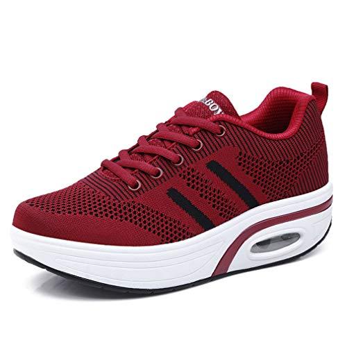 Solshine Damen Mesh Schnürer Shape up Sneakers Walkmaxx Fitnessschuhe Plateau Turnschuhe Weinrot 38EU