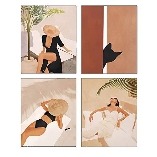 "Modern Art Fashion Pop Boho Women Illustration Feminine Mid Century Poster Prints Set of 4 (8""X10"" Canvas Picture) Female Girl Bathroom Bedroom Dressing Room Wall Art Painting Home Decor Unframed"