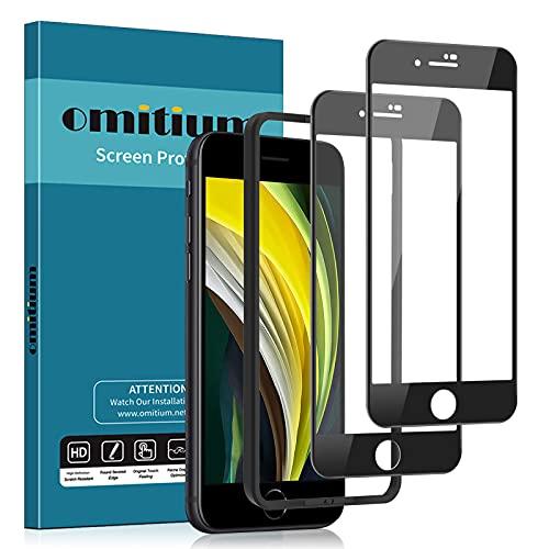 omitium [2 Pezzi Full Vetro Temperato Compatibile con iPhone SE 2020 / iPhone 8 / iPhone 7, Pellicola Protettiva con Cornice di Allineamento Anti-Impronte 9H Durezza Protezione Schermo