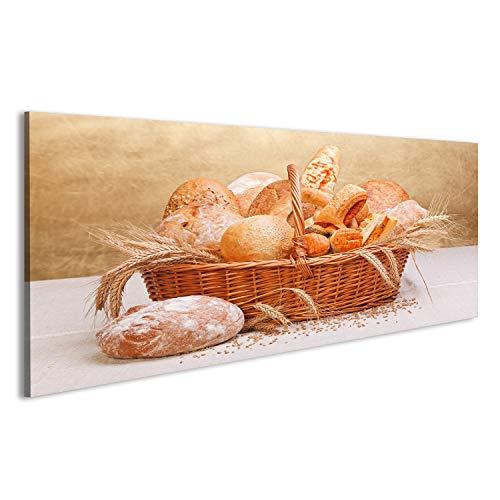 islandburner Cuadro Cuadros Varios Productos de panadería Fresca en Cesta de Mimbre, decoración de Trigo Impresión sobre Lienzo - Formato Grande - Cuadros Modernos DHL