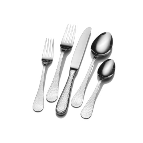 Wallace Continental Hammered 78-Piece 18/0 Stainless Steel Flatware Set, Service for 12