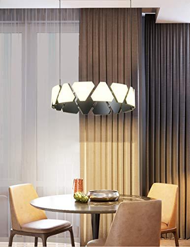 LONSTAII Comedor Anillo LED Iluminación Colgante De Luz Moderno Redondo Triángulo Lámpara Colgante Minimalismo Decoraciones Simple Hierro Metal Acrílico Altura Ajustable Salón Dormitorio Ø53CM,Azul