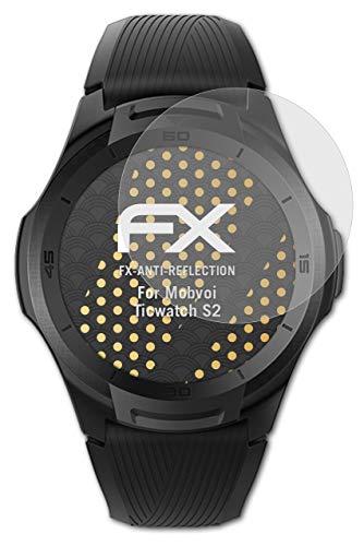 atFoliX Panzerfolie kompatibel mit Mobvoi Ticwatch S2 Schutzfolie, entspiegelnde & stoßdämpfende FX Folie (3X)