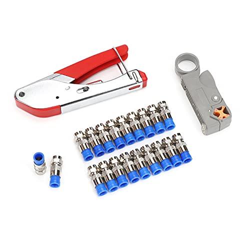 Alupre Coaxial Cable Crimping Tool Set Pelacables para RG59 RG6 Coaxial Crimper con conector de 20 piezas(negro)