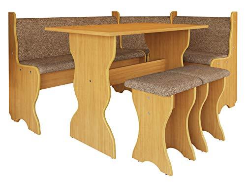 Mirjan24 Eckbankgruppe Thomas, Eckbank Gruppe besteht aus Kücheneckbank, Tisch, 2X Hocker, Esszimmer Sitzbank (Erle + Alfa 80)