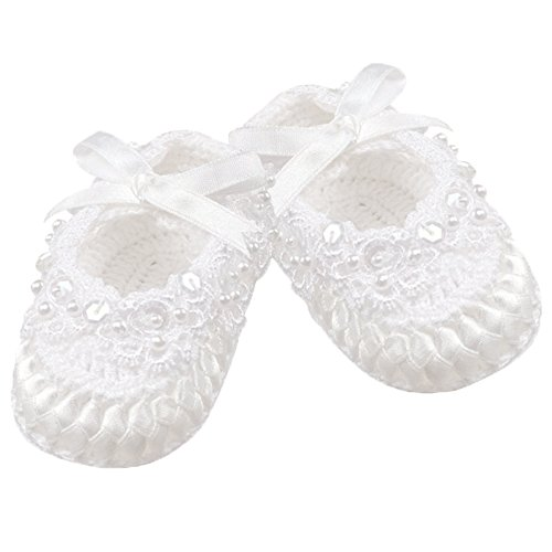 Country Kids Baby Girls Crochet Christening Baptism Crib Shoe Sequins Pearls Satin Bow, 1 Pair Gift Set, Fits 0-6 months