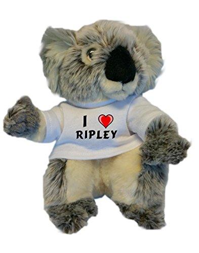 Koala personalizada de peluche (juguete) con Amo Ripley en la camiseta (nombre de pila/apellido/apodo)