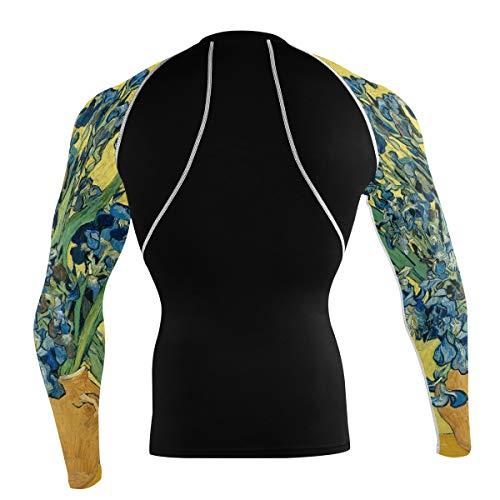 Fantazio Van Gogh Irises T-shirt à manches longues pour vélo de montagne et vélo de route - - L