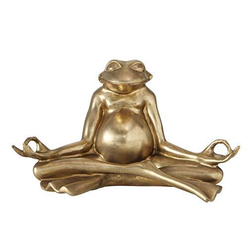 CasaJame Yoga Frosch Gold aus Kunstharz 34x19x20cm