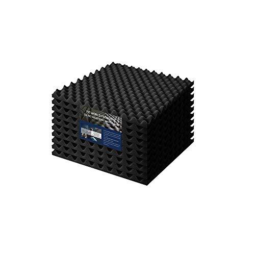 吸音材 制振材 ウレタン 防音 壁 遮音 YYT 高密度 高反発 音響調整 不燃 無害 凹凸波型 50cmx50cm 厚さ2.5cm … (10, ブラック)