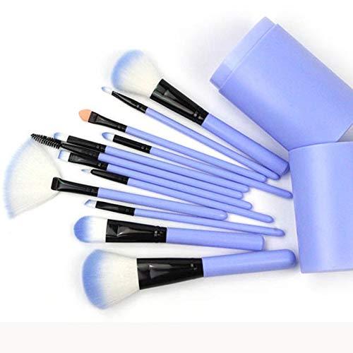 12pcs Maquillage Pinceaux poignée en Plastique Unicorn Fondation Blending d'alimentation Brosse de cosmétiques Beauty Box Plastique (Handle Color : Blue)