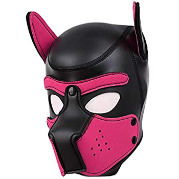 Afus Puppy Mask Sexy Dog Mask Adult Cosplay Full Mask with Ear  hot Pink