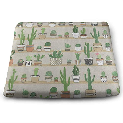 Square Seat Cushions Vintage Cactus in Flower Pots Premium Comfort Memory Foam Kitchen Chairs Pad