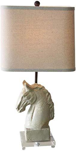 Lámpara de mesa retro creativa de resina, diseño de cabeza de caballo