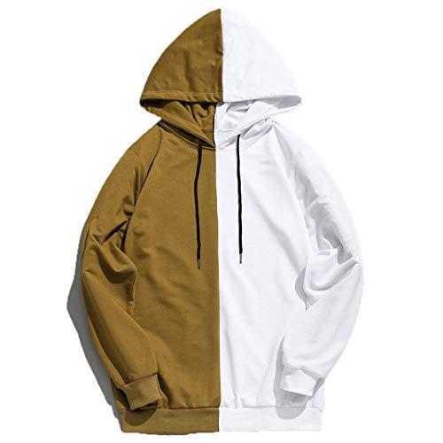 JX-PEP Sudadera con capucha para hombre con diseño de retazos delgados, de manga larga, para hombre, para exteriores, color marrón, XXL