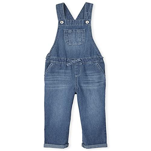 The Children's Place Baby Toddler Girl Sleeveless Denim Overalls, REFLECTBLUE WSH, 3T