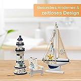 Flanacom Badezimmer Deko - 3er Set - Maritime Badezimmer Deko - Leuchtturm, Segel-Schiff und Strand-Stuhl aus Holz - Badaccessoires - Schöne Deko für das Bad - Design 2 - 4