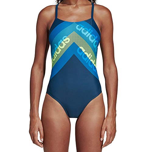 adidas Damen Fit 1pc Lin Swimsuit, Blau (legend marine/hi-Res yellow), 36