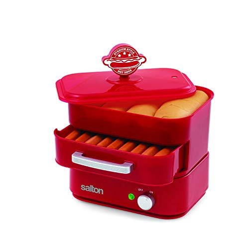 Salton Treats Steamer for Extra Large Authentic Stadium-Style Hot Dogs and Sausages, 8 Hot Dog and 4 Bun Capacity to Steam and Warm Breakfast Sausages, Brats, Vegetables, Fish, 350 Watts, Red (HD1905)