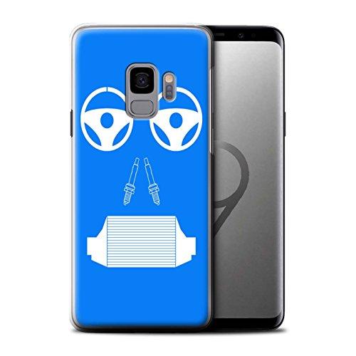 Stuff4® Gel TPU hoes/case voor Samsung Galaxy S9/G960 / radiator/blauw patroon/auto-onderdelen gezichten collectie
