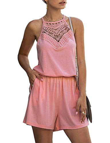 KIRUNDO Summer Women's Lace Patchwork Romper Halter Neck Short Solid Overall Sleeveless High Waist Jumpsuit with Pockets (Small, Pink)