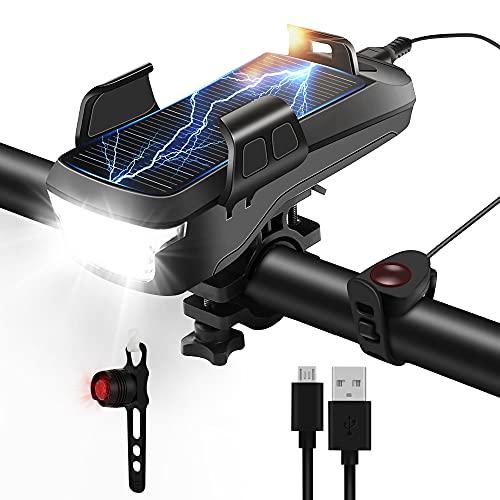 Posinko Fahrradlicht Set, Solar und USB Lade LED Fahrradbeleuchtung, Fahrradlampe mit 4000mAh Akku, wasserdichtes IPX5 Fahrrad Licht, mit Handyhalter,Rücklicht und Hupe,Geeignet für das Fahren Freien