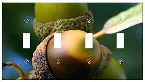 Switch Plate 4 Gang Toggle - Acorn Cluster Oak Seed Nut Green Leaf Beginning 1