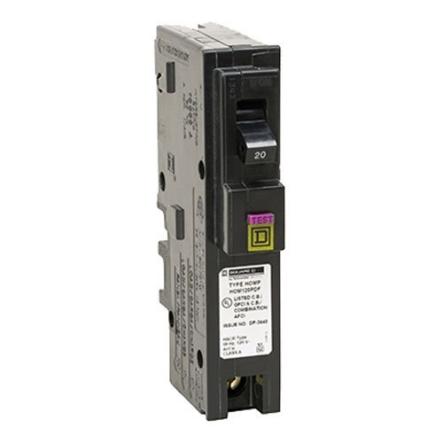 Square D by Schneider Electric HOM120PDFC Homeline Plug-On Neutral 20 Amp Single-Pole Dual Function (CAFCI and GFCI) Circuit Breaker, (Pack of 1)