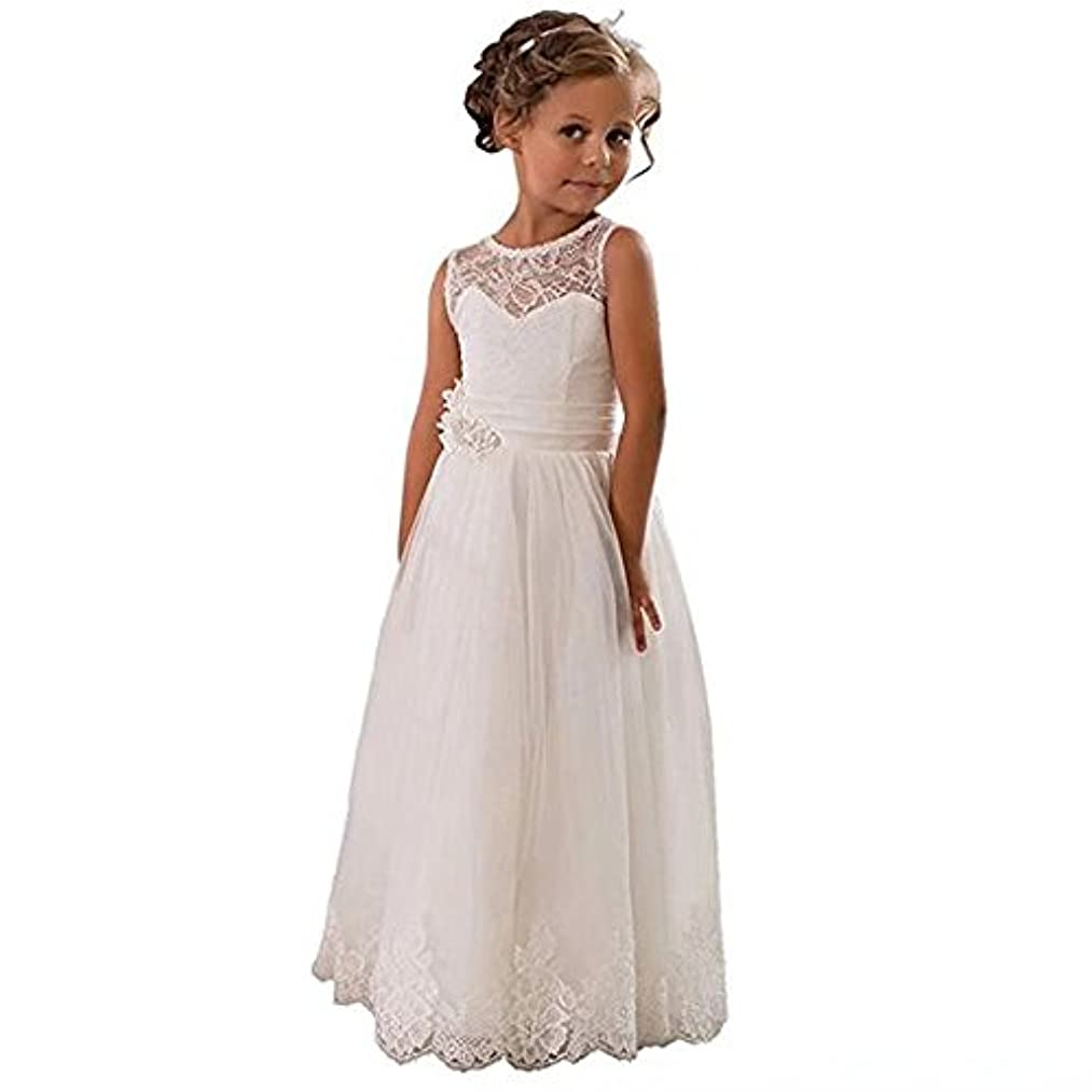 Kalos Dress Shop Lace Embellished A-Line Sleeveless Girls Wedding Party Dresses First Communion Dress