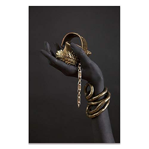 Carteles impresos pulsera de oro negro y dorado imágenes de pared de arte africano para decoración de sala de estar-50x70cm sin marco
