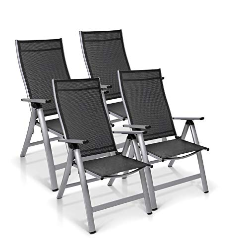 Homeoutfit24 Sun Garden Premium Line 4er Set Gartenstuhl - Hochlehner London in Silber, Klappsessel aus Aluminium