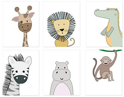 KAIRNE 6er Set Bilder Kinderzimmer Babyzimmer Deko, Kinderposter Tiere für Jungen und Mädchen, Safari Babybild, Waldtiere Poster Kinder, Kinderposter Wandbilder für Wohnzimmer Schlafzimmer