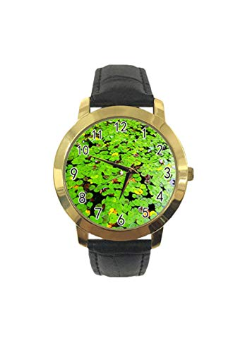 Lotus Pond - Reloj de pulsera analógico de cuarzo con correa de piel para hombre y mujer