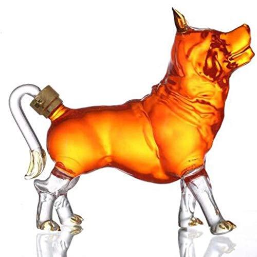 Decantador de whisky con animales – Figura de cristal para perro pastor, para licor y vodka escocés o vino – 900 ml