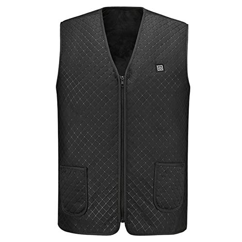 Denpetec Electric Heated Vest, USB Electric Heated Coat,5 Heating Zones, Washable,Warm Electric Heating Jacket,Electric Body Warmer Gilet Suitable for Outdoor Sports M~4XL