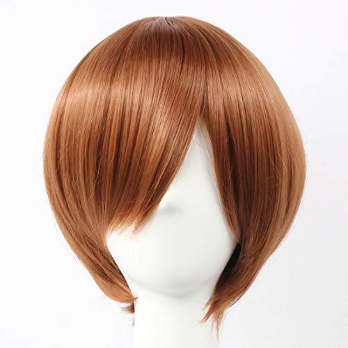 HOOLAZA Brown Short Straight Wig Fuji Syusuke Seto Kaiba Onodera Ritsu Tanemura Kouichi Axis Powers Feliciano Vargas Vocaloid Meiko for the Halloween Party Cosplay Wigs