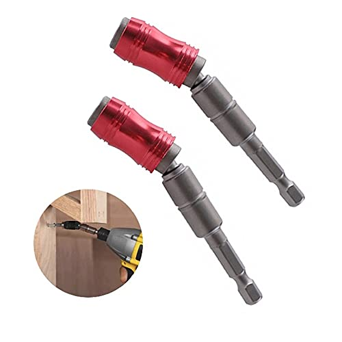 Portabrocas De Pivote Magnético 1/4 ?, 20 ° Extensor De Taladro Magnético Plegable Broca De Tornillo Giratorio De Bloqueo De Cambio Rápido (rojo 2PCS)