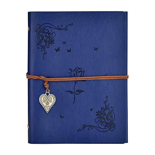 SEEALLDE Cuaderno de piel A5 páginas en blanco diario cuaderno mapamundi diario de viaje vintage cuaderno de notas cuaderno (Azul A5 Rosa)