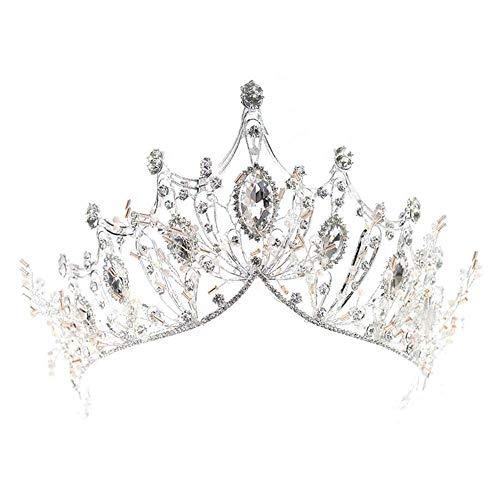 REYOK-Corona de la Reina de Cristal, Tiara de Lujo de Plata, diseño...