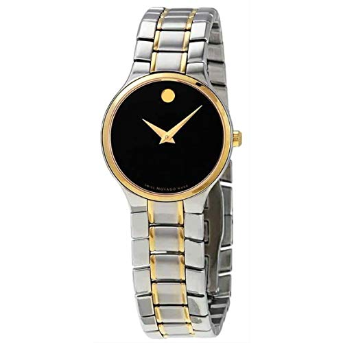 Movado Serio Quartz Black Dial Two-Tone Ladies Watch 0607289