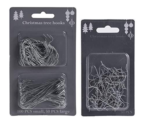 Weihnachtsbaum Haken Silber - 200 Stück - Christbaum Kugel Aufhänger S-Haken - Weihnachtskugel Draht Haken Schnellaufhänger