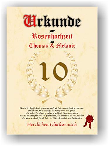 Urkunde zum 10. Hochzeitstag - Rosenhochzeit - Geschenkurkunde Rosen Hochzeit personalisiertes Geschenk Karte zum Ehrentag XXL DIN A4