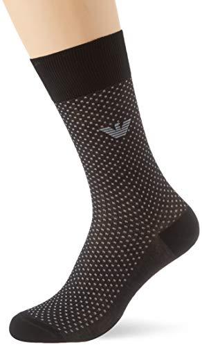 Emporio Armani Underwear Herren Pinpoint Super Fine Lisle Yarn Short Socken, Schwarz (Nero 00020), 43/44 (Herstellergröße: M)