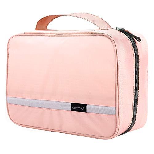 Neceser de Viaje, Neceser Maquillaje Grande para Hombre y Mujer, Carttiya Bolsa de Aseo Impermeable para Colgar (Rosa)